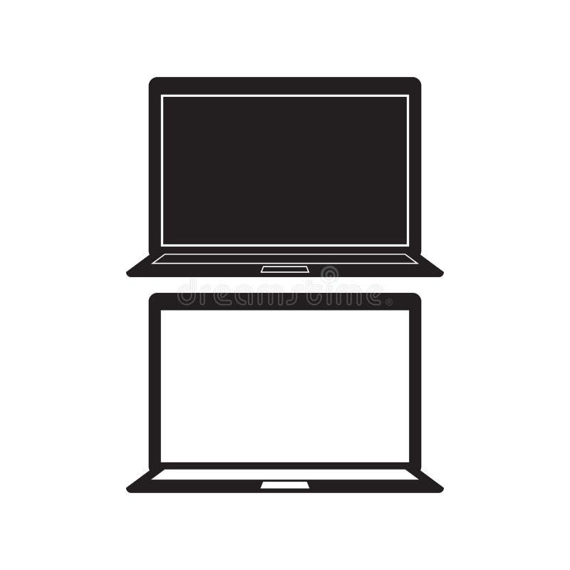 Computer-Notizbuchikone Vektor-Illustration Flaches Zeichen des Laptops Getrennt auf weißem Hintergrund stock abbildung
