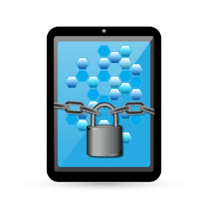 Computer o smartphone realistico del PC della compressa con le celle dati sullo schermo Chiuda con una catena intorno allo scherm illustrazione vettoriale