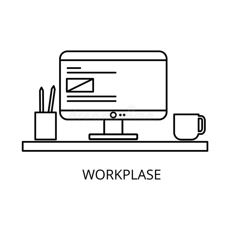 Workplace with computer and office equipment, isolated on a white background... Vector illustration. royalty free illustration