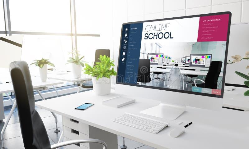 computer office online school stock images
