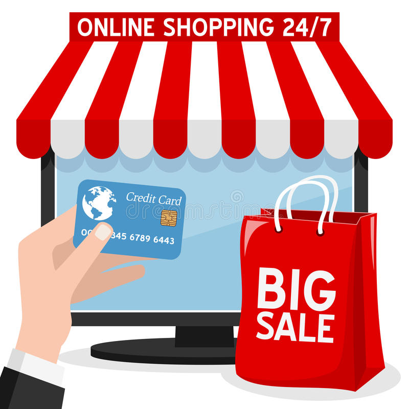 Computer Online Shopping with Red Bag vector illustration