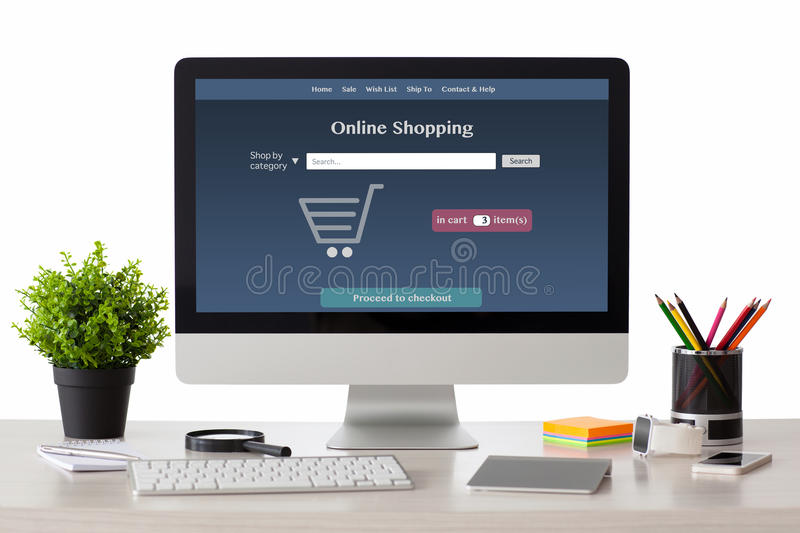 computer with online shopping site with phone and watch stock image image of media market. Black Bedroom Furniture Sets. Home Design Ideas