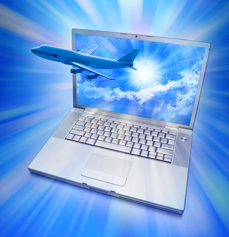 Computer Online Travel Airplane. An airplane flying out of a laptop computer with a beautiful blue sky on the screen