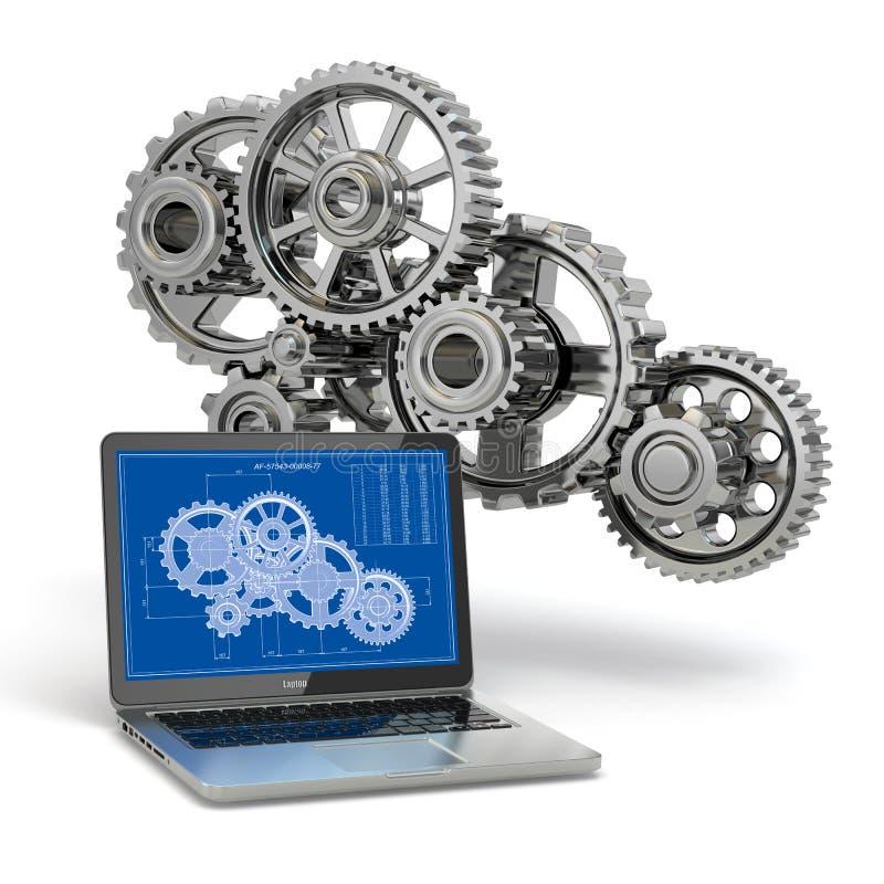 Computer-ontwerp techniek. Laptop, toestel en ontwerp. stock illustratie