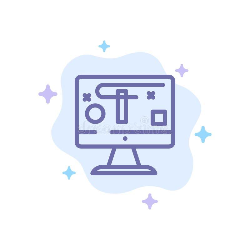 Computer, Ontwerp, Vertoning, Grafiek Blauw Pictogram op Abstracte Wolkenachtergrond vector illustratie