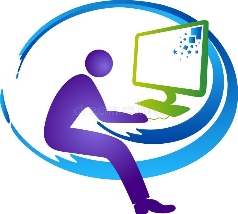 Computer operator logo vector illustration