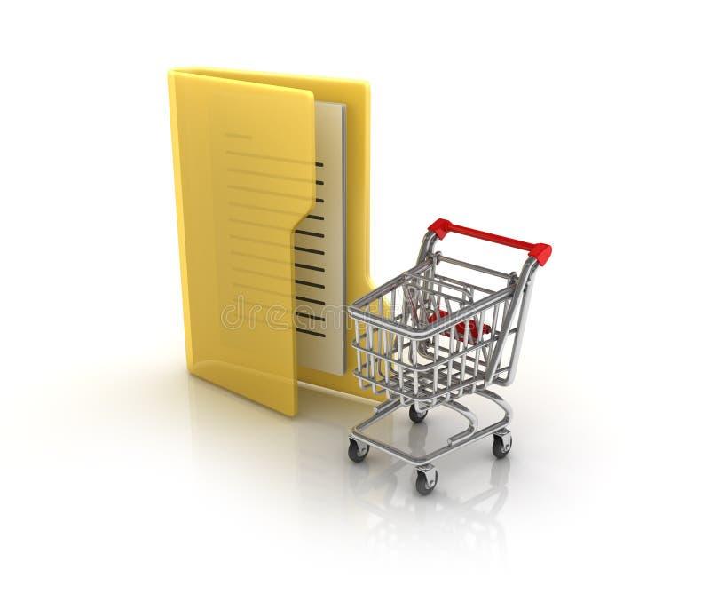Computer-Ordner mit Einkaufswagen stock abbildung