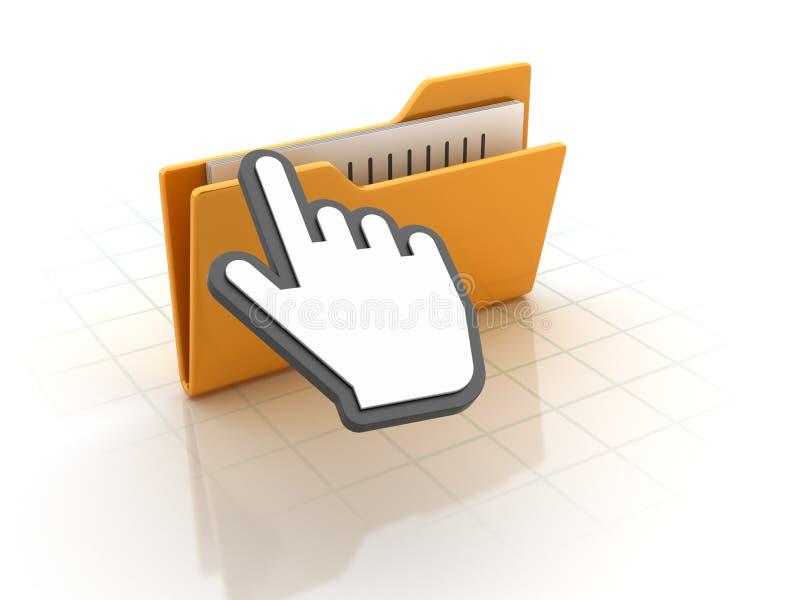 Computer-Ordner mit Hand-Cursor vektor abbildung