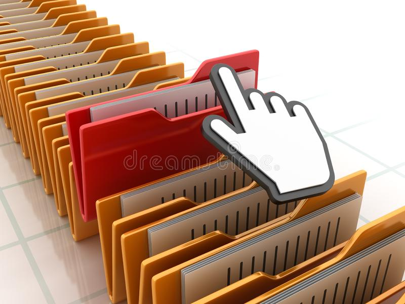 Computer-Ordner mit Hand-Cursor lizenzfreie abbildung