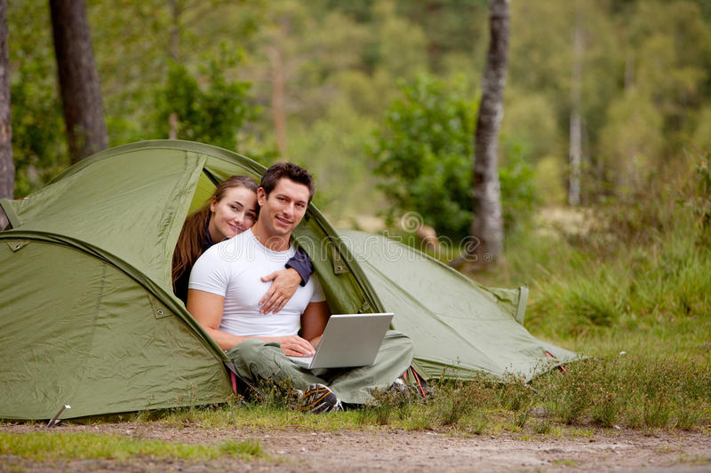 Computer Outdoor Tent stock images