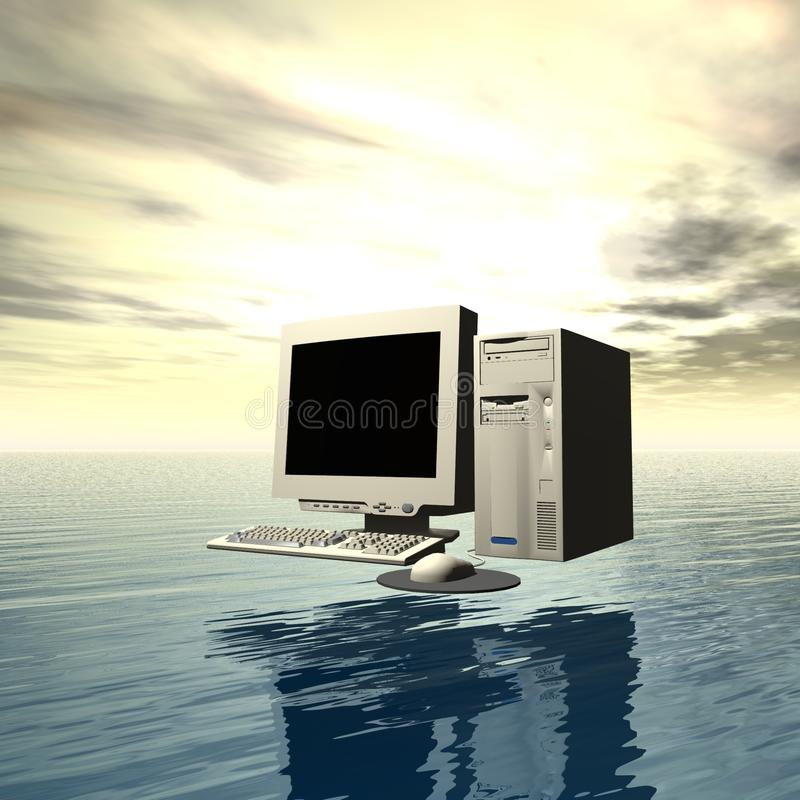 Computer over water vector illustratie