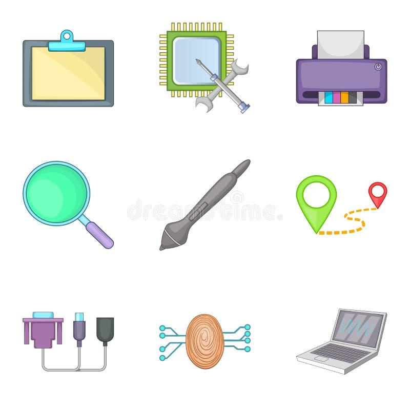Computer part icons set, cartoon style stock illustration