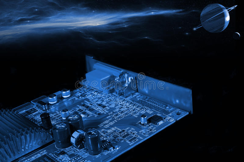 computer part in outer space technology stock images