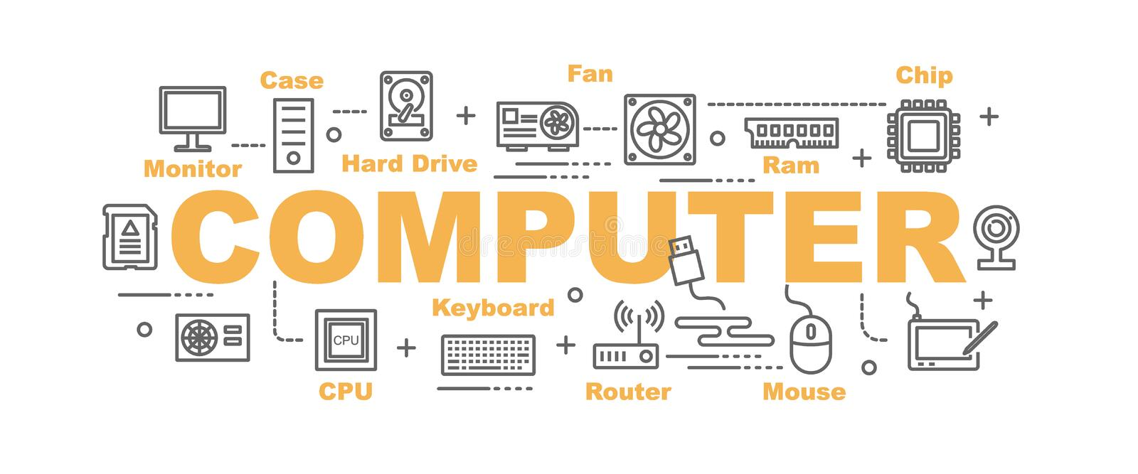 Computer part vector banner royalty free illustration
