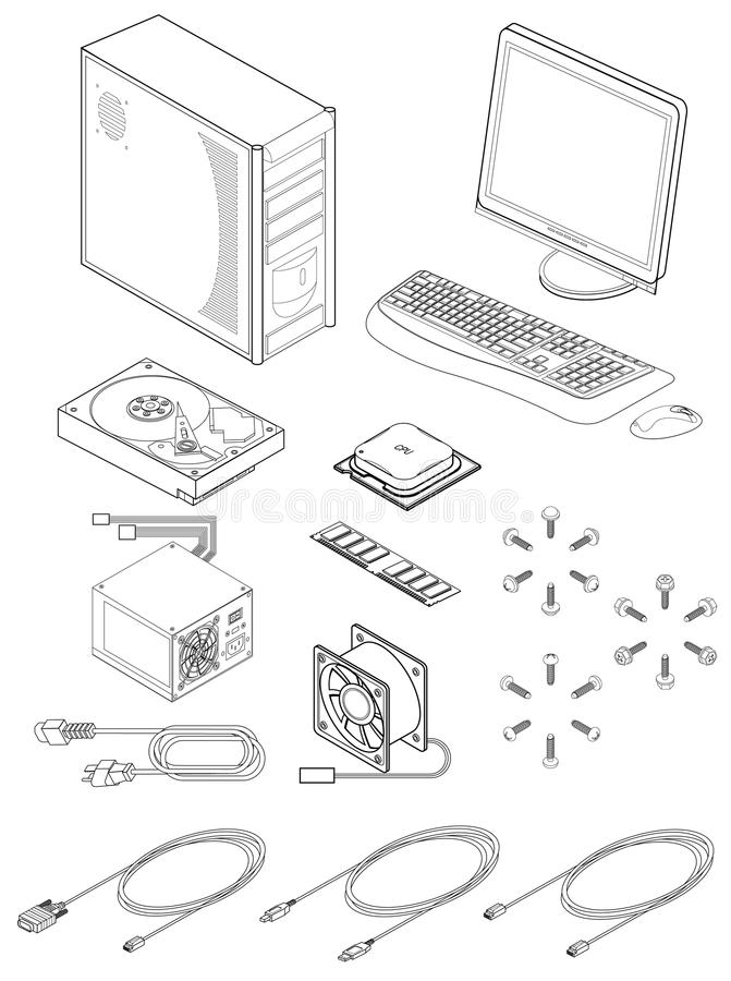 Download Computer Parts And Accessories Stock Vector - Illustration of cable, case: 14765959
