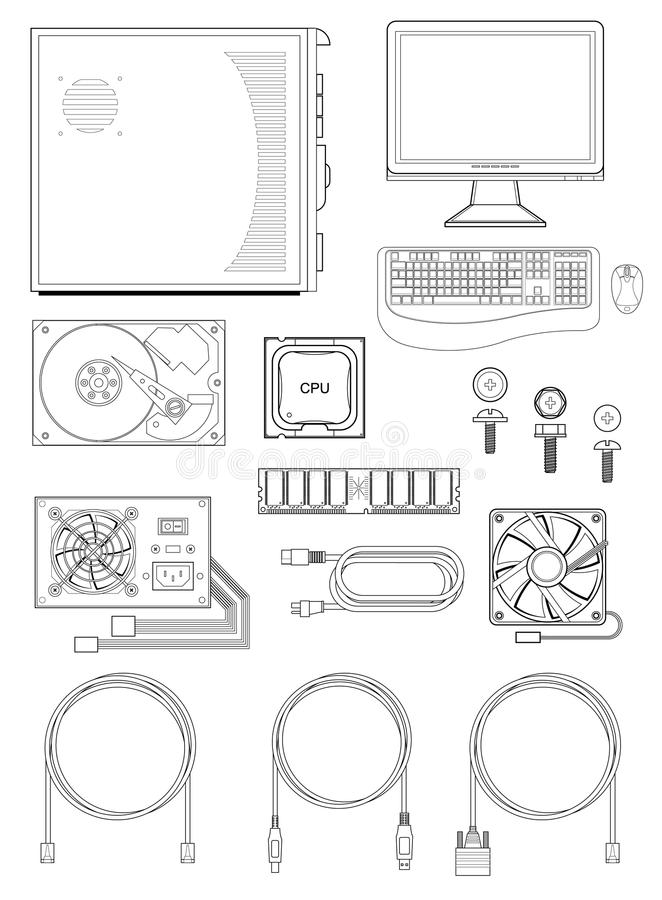 Computer parts and accessories. Illustration of various computer parts and accessories including monitor, keyboard, mouse, case, different cables and screws royalty free illustration