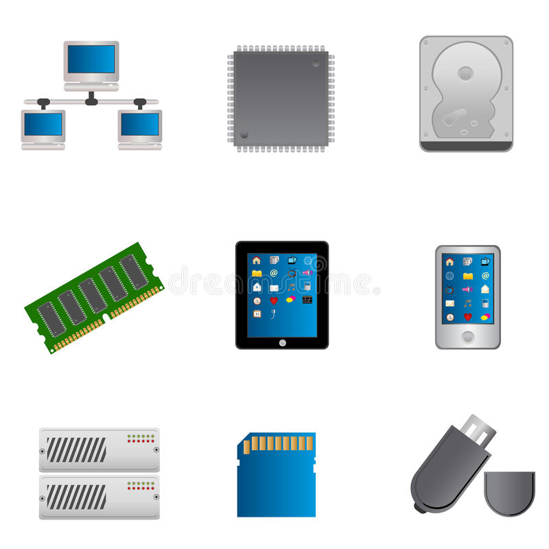 Download Computer parts icon set stock vector. Illustration of drawing - 20557705