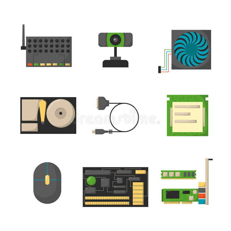 Computer parts network component accessories various electronics devices and desktop pc processor drive hardware memory. Card vector illustration. Electronics royalty free illustration