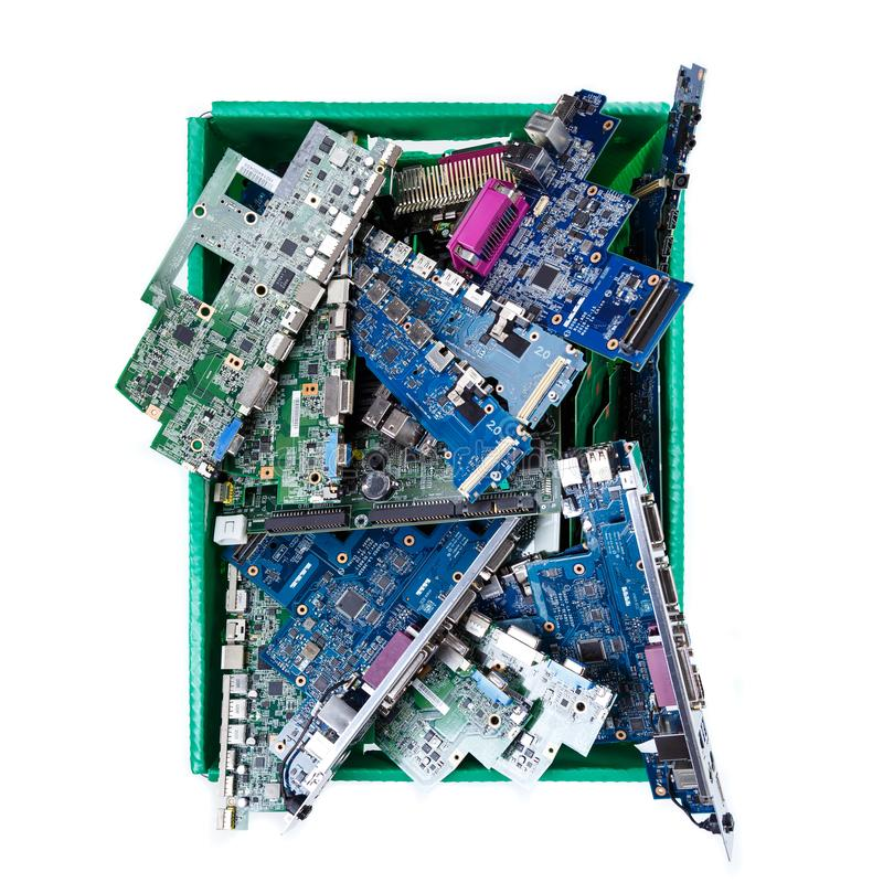 Computer parts ready for recycling on white background royalty free stock photo