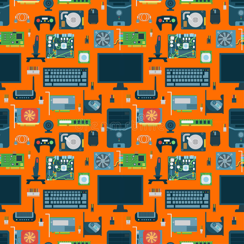 Computer parts seamless pattern. Computer parts seamless pattern illustration. Device hdd series background. Network motherboard mobile devices connections vector illustration