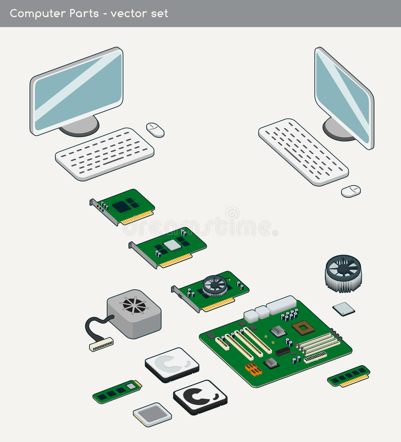 Computer parts - Vector. Simplified illustration of computer parts done in vector. Adobe Illustrator vector file available additionally stock illustration