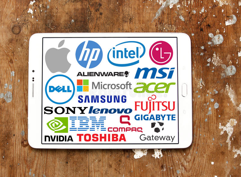 Computer (PC) brands and logos stock images