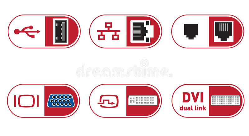 Computer (PC) Connections ports illustrations. PC Connections ports illustrations - great for logo developing or other stuff. Colors and shapes are editable for royalty free illustration