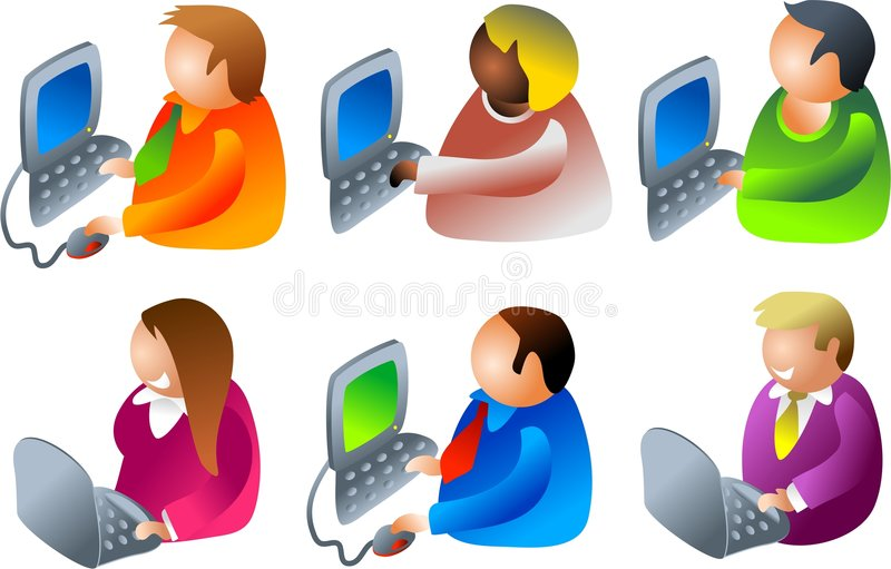 Download Computer people stock vector. Illustration of diverse, keyboard - 347407
