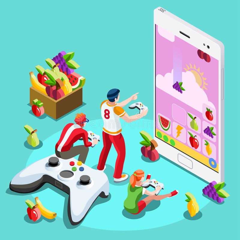 Computer People Video Game Gaming Isometric Vector Illustration. Video game UX development. Web gamer person gaming online with console controller android phone stock illustration