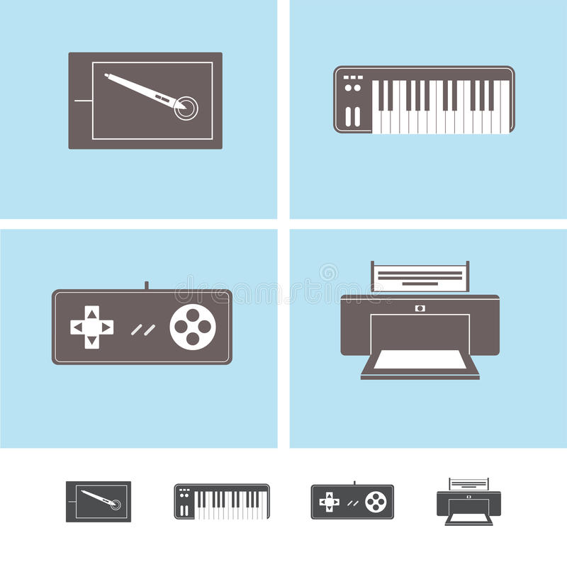 Peripheral devices icons stock image