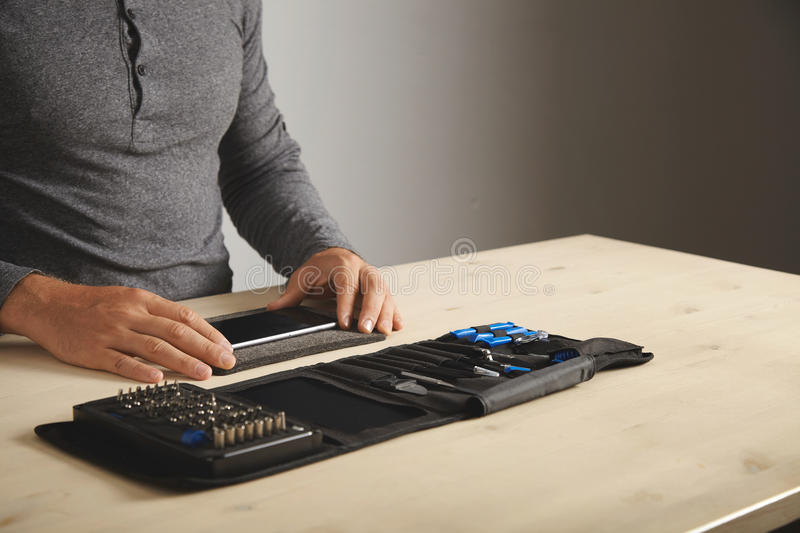 Computer and phone repairment service stock photography