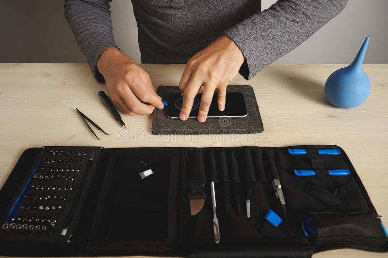 Computer and phone repairment service stock images