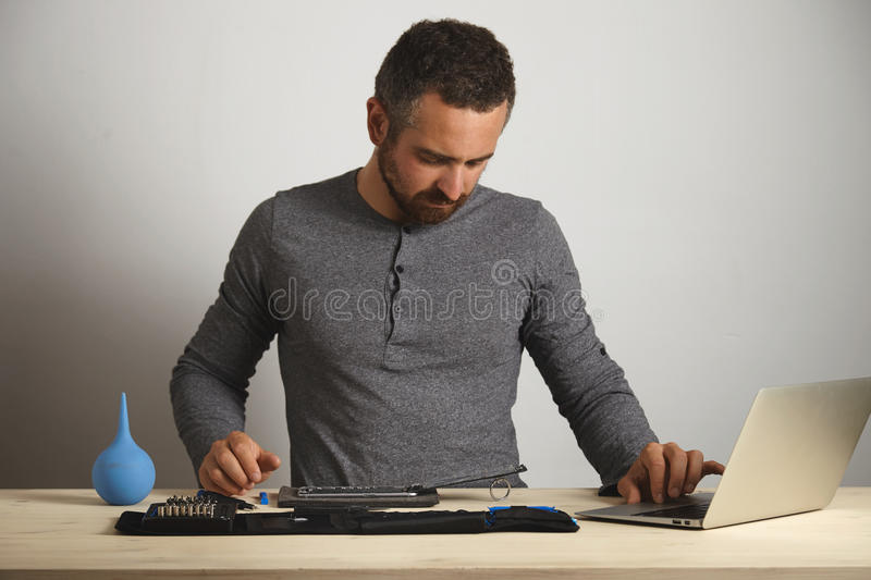 Computer and phone repairment service royalty free stock photography