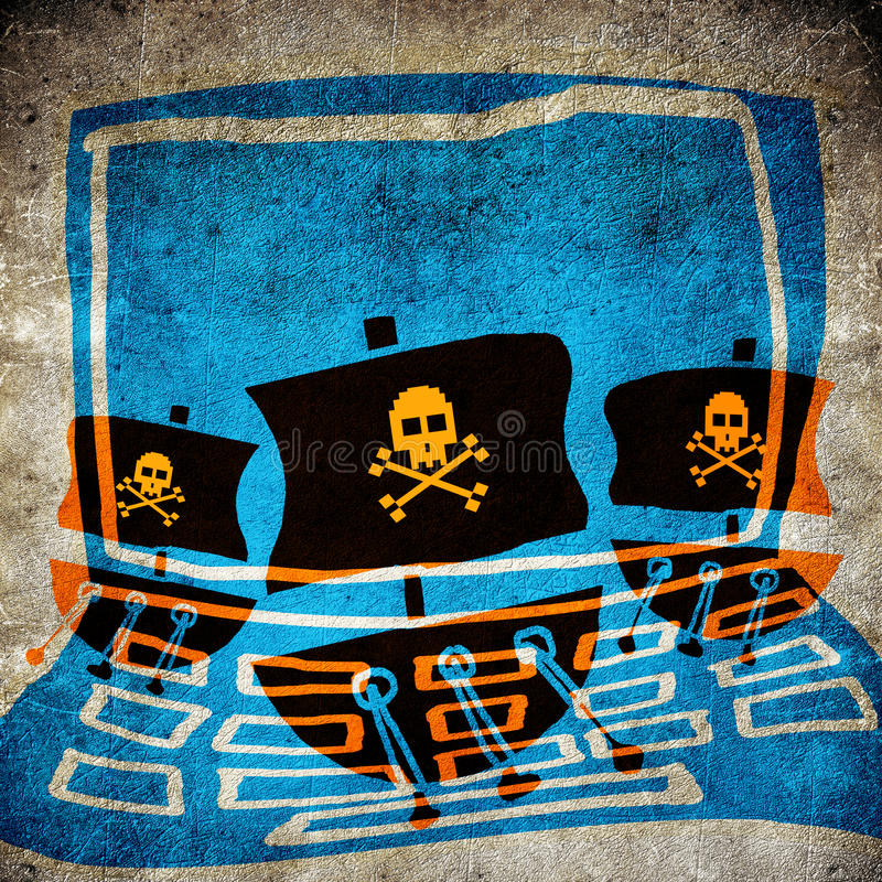 Computer pirate. Concept digital illustration vector illustration