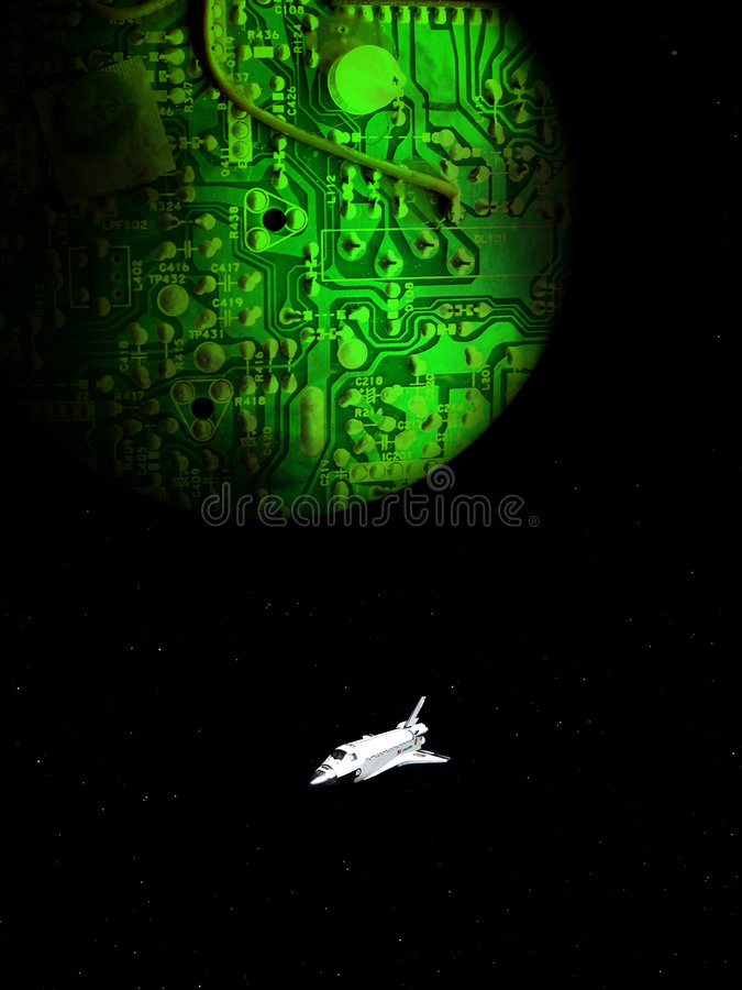 Computer Planet 14. A conceptual image of spacecraft flying next to a computer world vector illustration