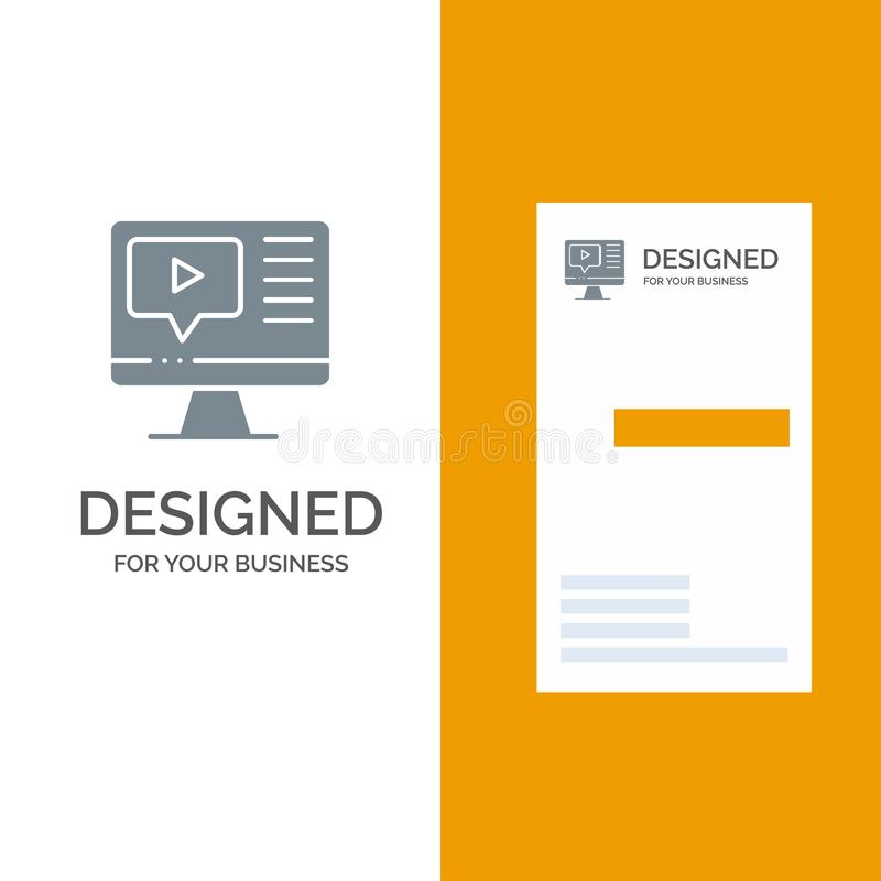 Computer, Play, Video, Education Grey Logo Design and Business Card Template stock illustration