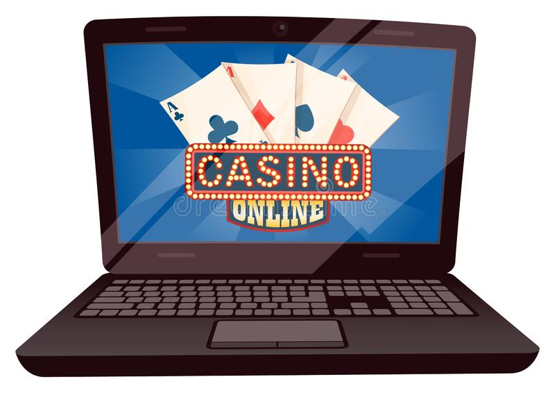 Computer with Playing Cards, Casino Online Vector. Casino online vector, isolated computer with screen showing playing cards. Gambling and betting money, earning royalty free illustration
