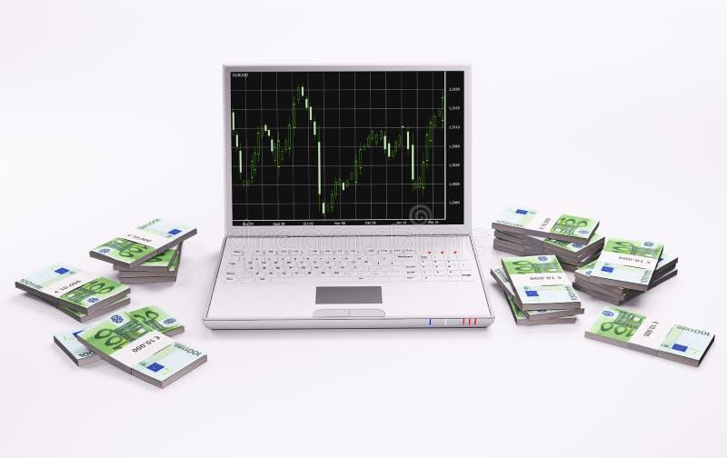 Computer portatile bianco con il diagramma e le pile di euro 3d illustrazione di stock