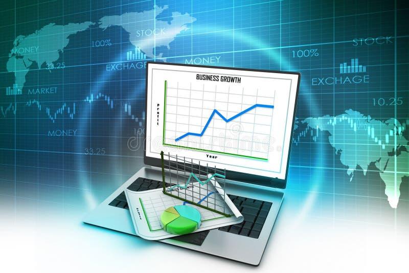 Computer portatile che mostra un rapporto finanziario illustrazione vettoriale