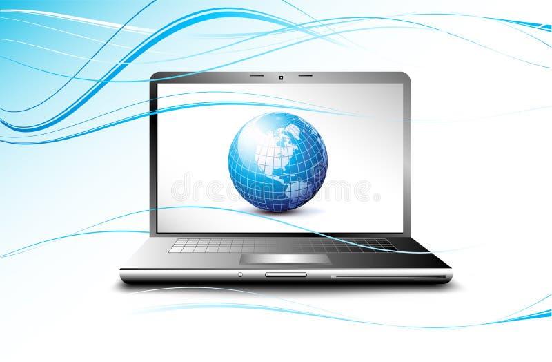 computer portatile che video il globo della terra, concetto di affari illustrazione di stock