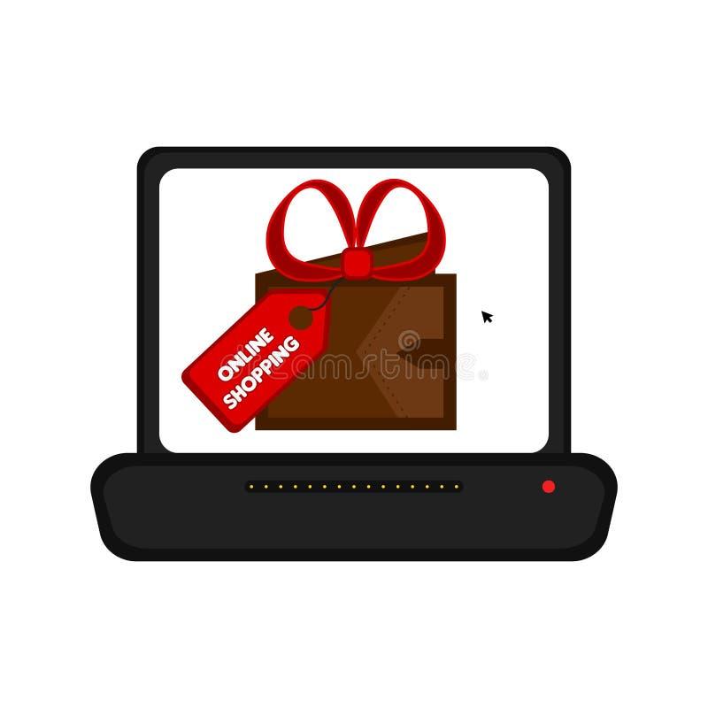 Computer portatile che visualizza un regalo Acquisto in linea illustrazione di stock