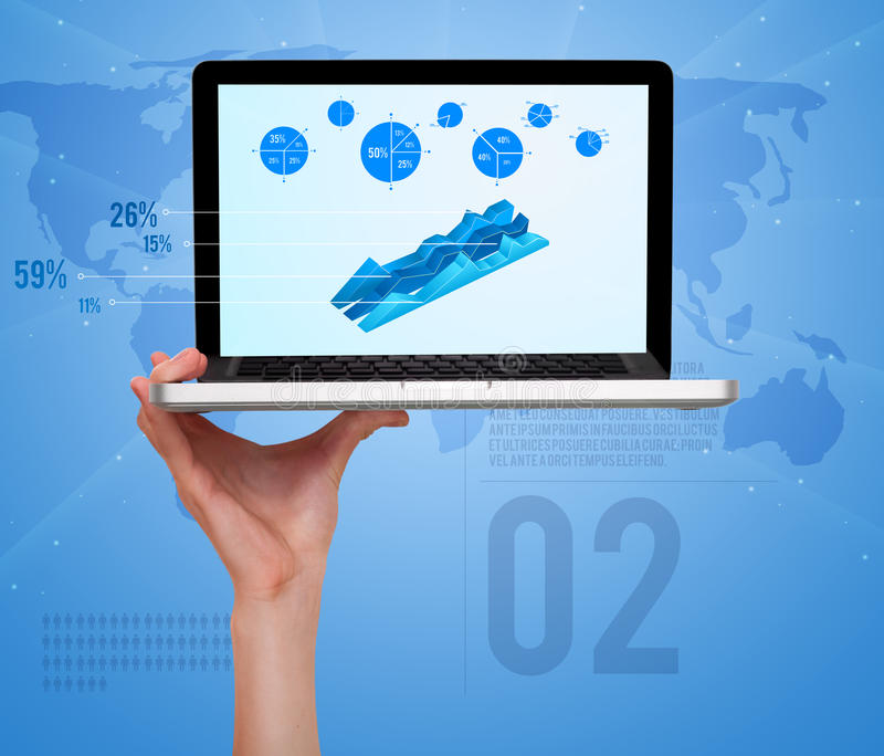 Computer portatile con gli schemi ed i diagrammi a spicchi moderni illustrazione di stock