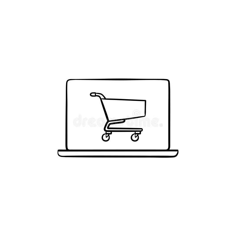 Computer portatile con il carrello sull'icona disegnata a mano di scarabocchio del profilo dello schermo illustrazione di stock