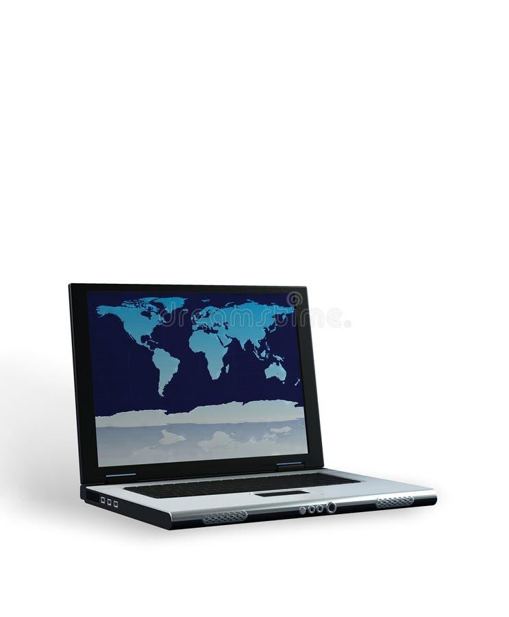 Computer portatile con il percorso di residuo della potatura meccanica immagine stock