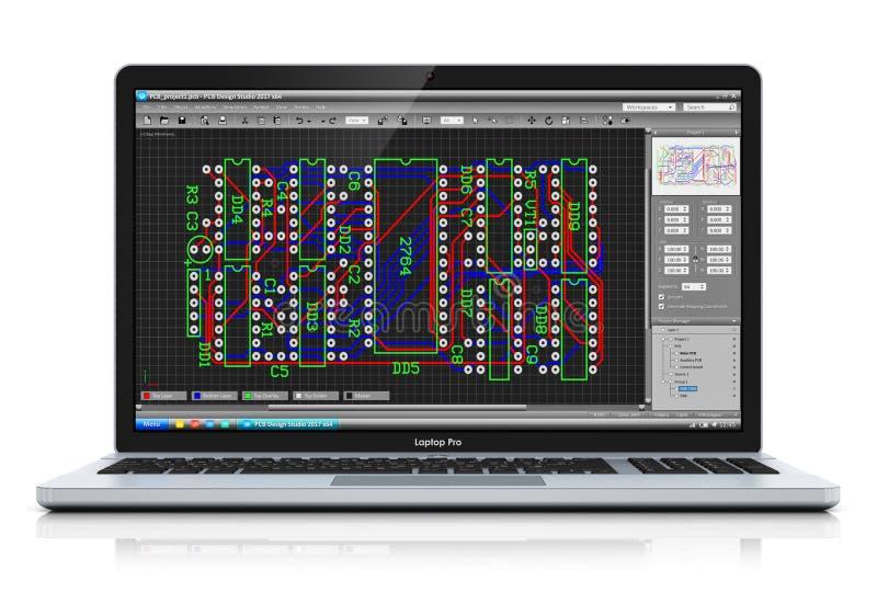 Computer portatile con il software di sviluppo del PWB illustrazione di stock