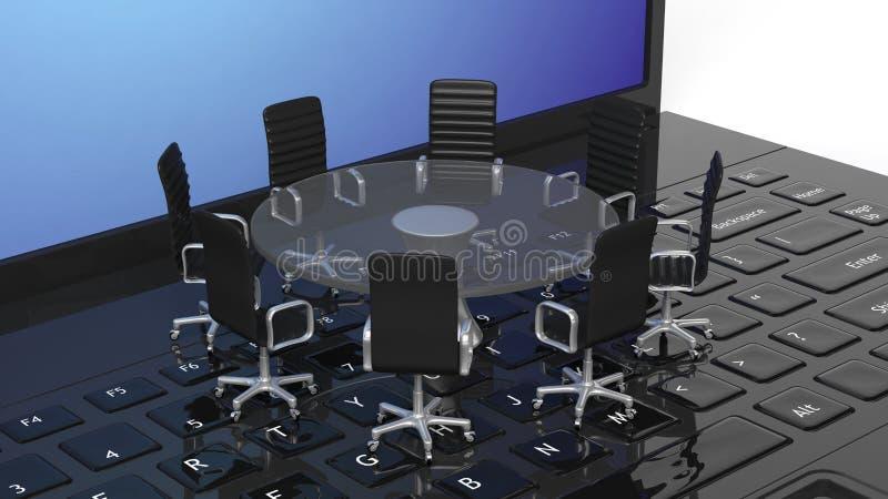 Computer portatile con il tavolo di riunione di vetro rotondo con le sedie illustrazione vettoriale
