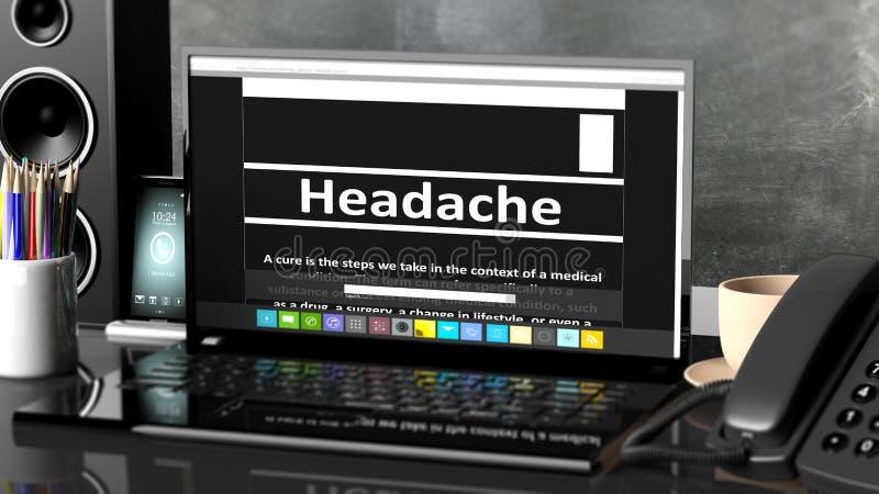 Computer portatile con informazioni di emicrania sullo schermo illustrazione vettoriale