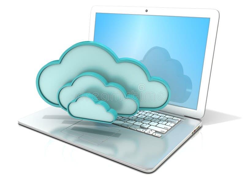 Computer portatile con l'icona del computer delle nuvole 3D Concetto di computazione della nube illustrazione vettoriale