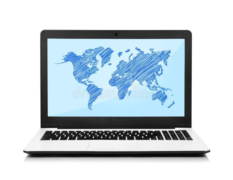 Computer portatile con la mappa fotografie stock libere da diritti