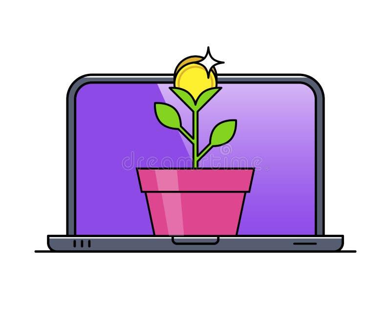 Computer portatile con la pianta di soldi in vaso illustrazione di stock